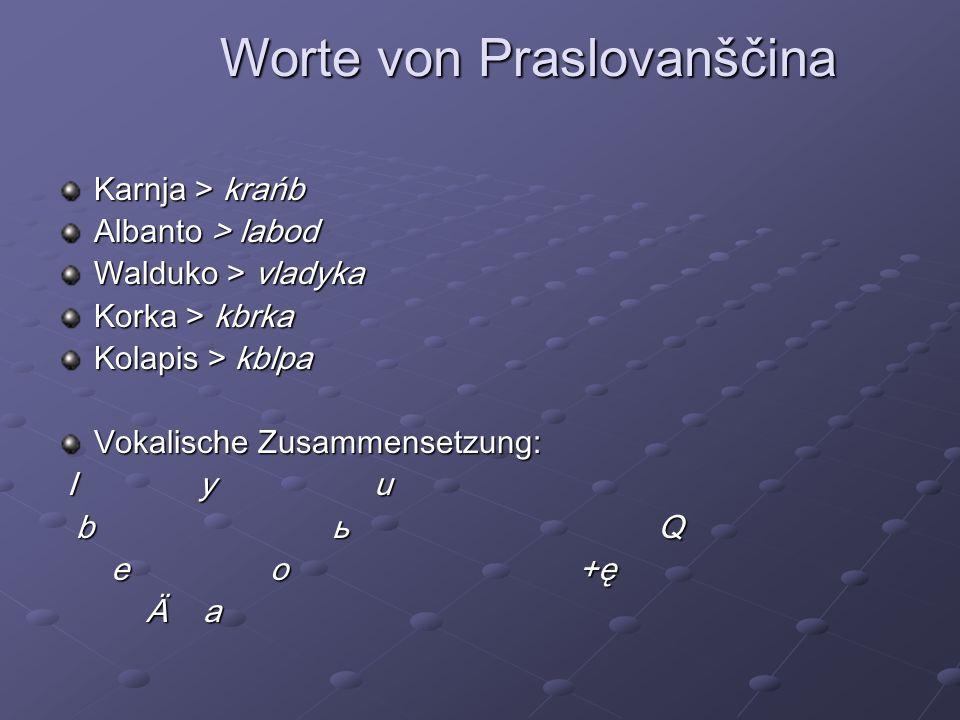Worte von Praslovanščina Karnja > krańb Albanto > labod Walduko > vladyka Korka > kbrka Kolapis > kblpa Vokalische Zusammensetzung: I y u I y u b ь Q