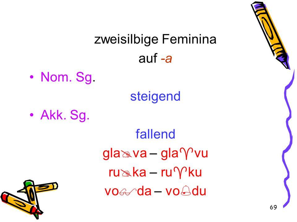 69 zweisilbige Feminina auf -a Nom. Sg. steigend Akk. Sg. fallend gla va – gla vu ru ka – ru ku vo da – vo du