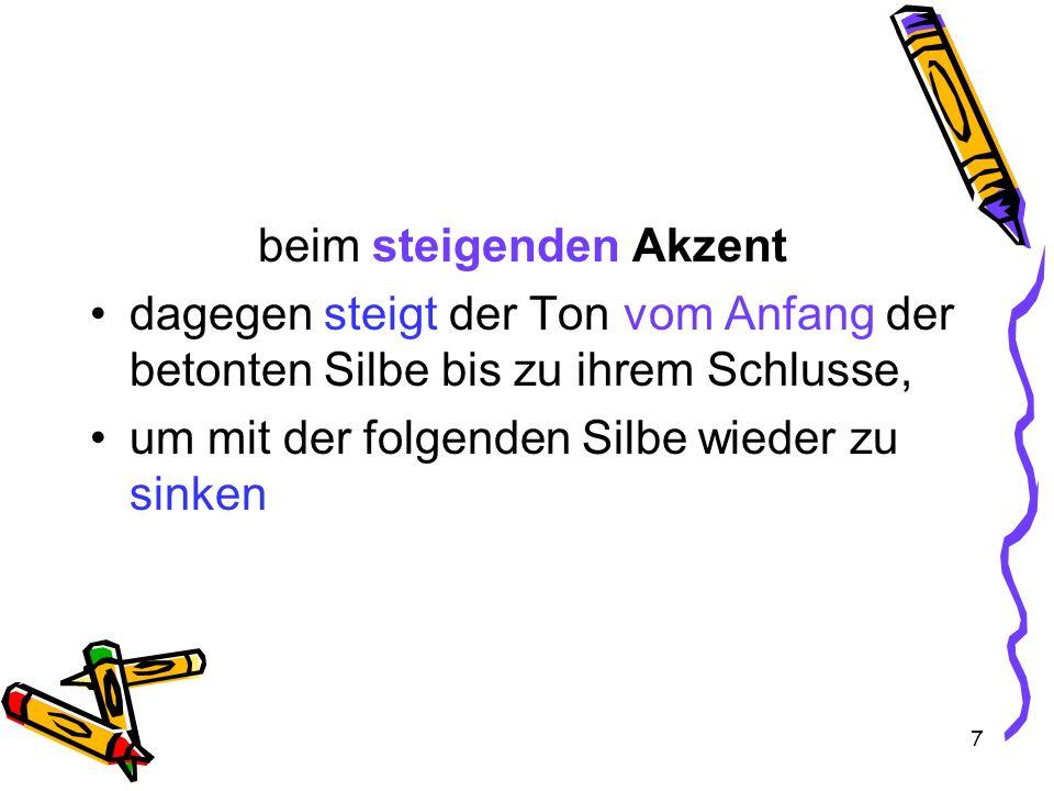8 Zwischen den beiden Akzenten derselbe Unterschied im Deutschen ein Wort einmal in ruhiger Rede und dann wiederum in aufgeregter Frage ausspricht (Er wird) sterben – Sterben?!