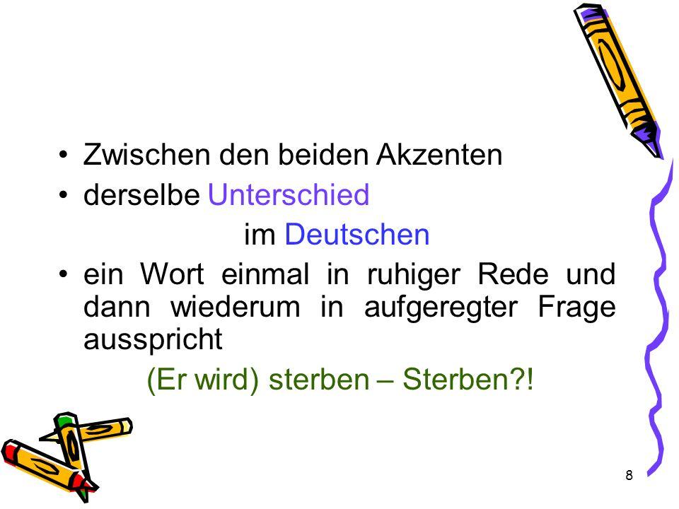 8 Zwischen den beiden Akzenten derselbe Unterschied im Deutschen ein Wort einmal in ruhiger Rede und dann wiederum in aufgeregter Frage ausspricht (Er