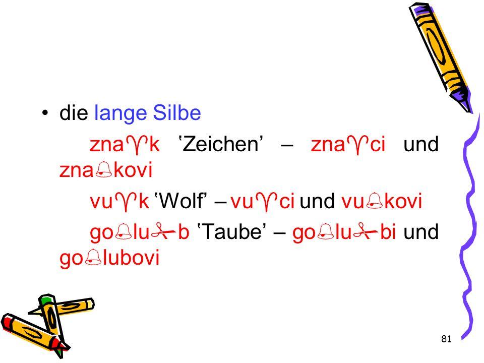 81 die lange Silbe zna k Zeichen – zna ci und zna kovi vu k Wolf – vu ci und vu kovi go lu b Taube – go lu bi und go lubovi