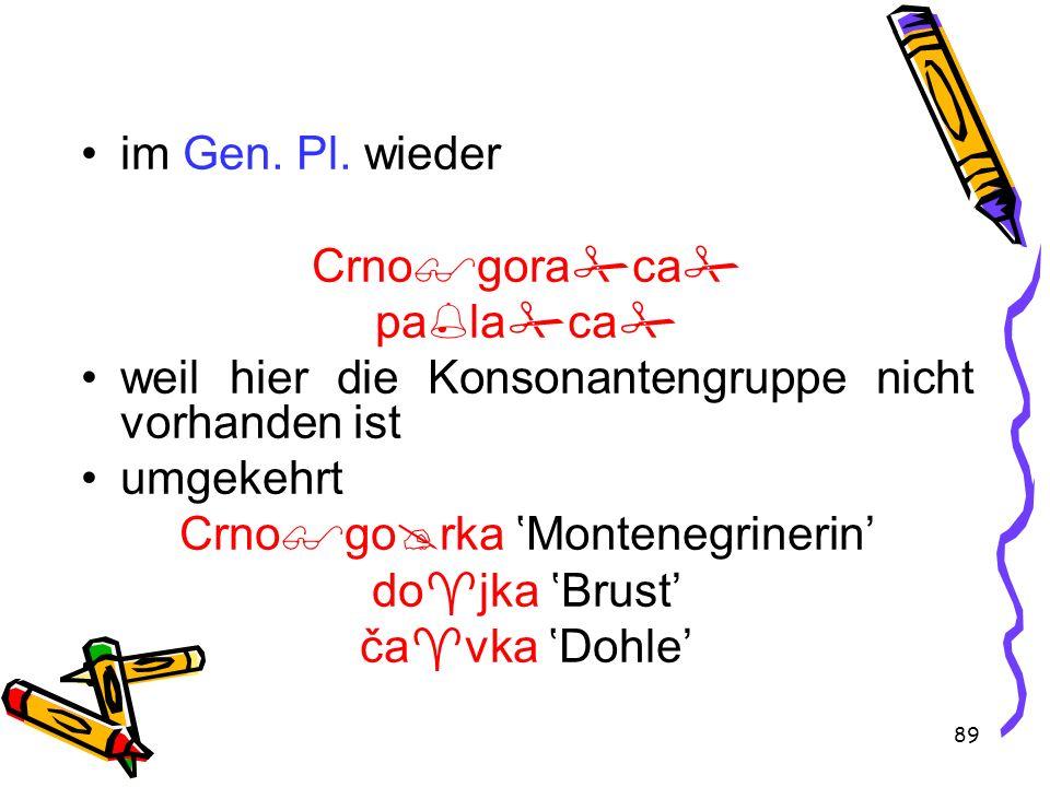 89 im Gen. Pl. wieder Crno gora ca pa la ca weil hier die Konsonantengruppe nicht vorhanden ist umgekehrt Crno go rka Montenegrinerin do jka Brust ča