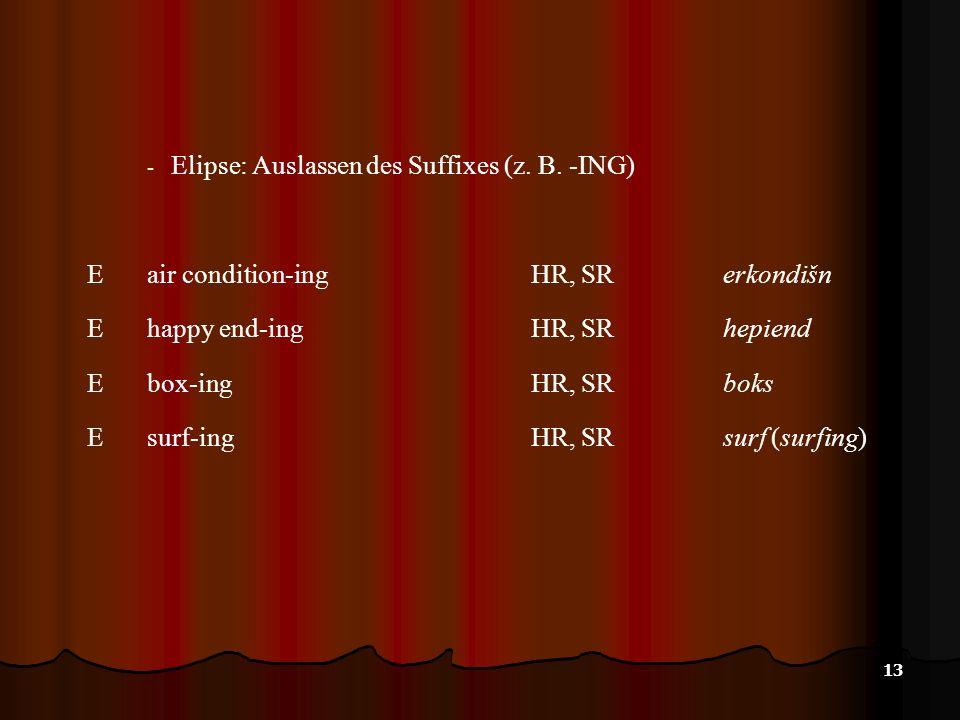 13 - Elipse: Auslassen des Suffixes (z. B. -ING) E air condition-ingHR, SR erkondišn E happy end-ingHR, SRhepiend E box-ingHR, SR boks E surf-ingHR, S