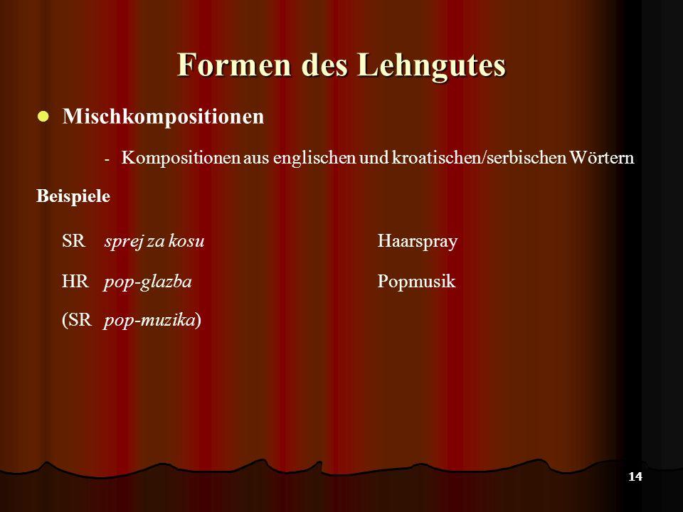 14 Formen des Lehngutes Mischkompositionen - Kompositionen aus englischen und kroatischen/serbischen Wörtern Beispiele SR sprej za kosuHaarspray HR pop-glazbaPopmusik (SRpop-muzika)