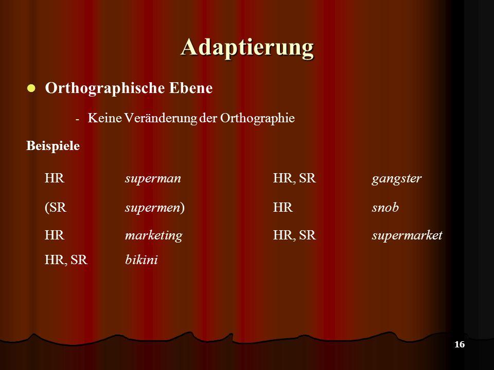16 Adaptierung Orthographische Ebene - Keine Veränderung der Orthographie Beispiele HR supermanHR, SRgangster (SRsupermen)HRsnob HR marketingHR, SRsupermarket HR, SR bikini