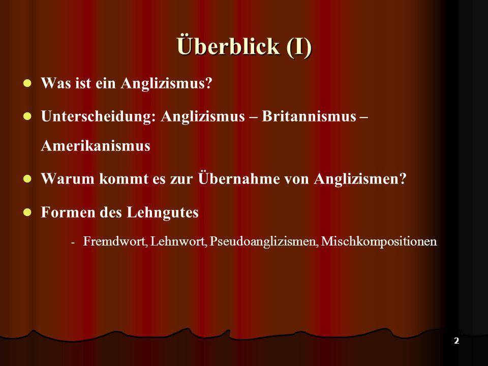 2 Überblick (I) Was ist ein Anglizismus.