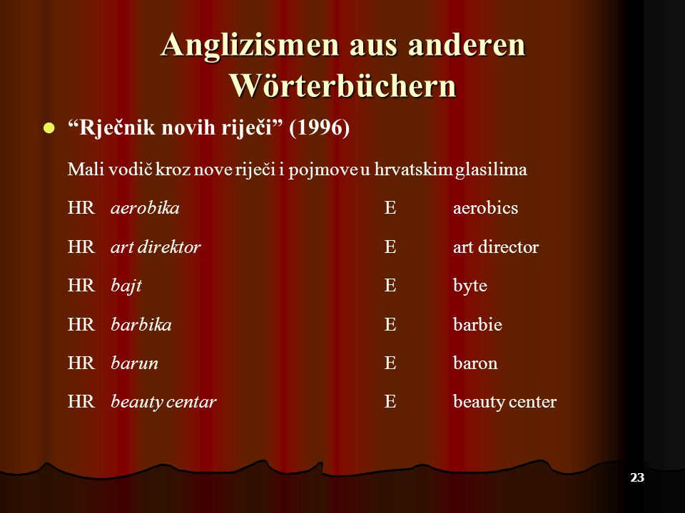 23 Anglizismen aus anderen Wörterbüchern Rječnik novih riječi (1996) Mali vodič kroz nove riječi i pojmove u hrvatskim glasilima HRaerobikaEaerobics H