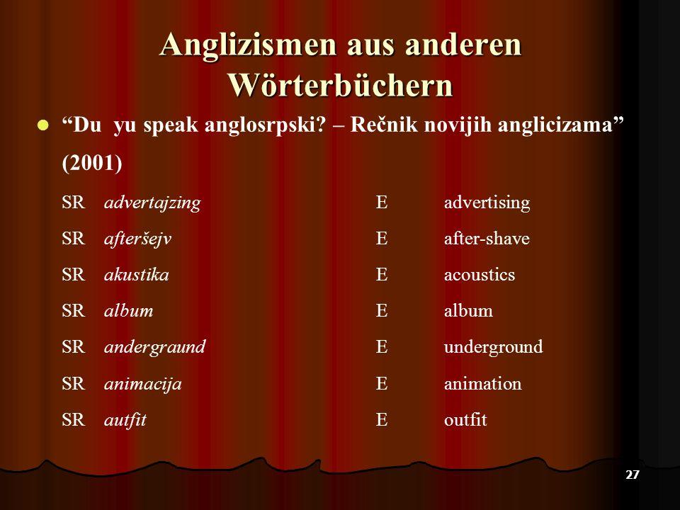 27 Anglizismen aus anderen Wörterbüchern Du yu speak anglosrpski? – Rečnik novijih anglicizama (2001) SRadvertajzingEadvertising SRafteršejvEafter-sha