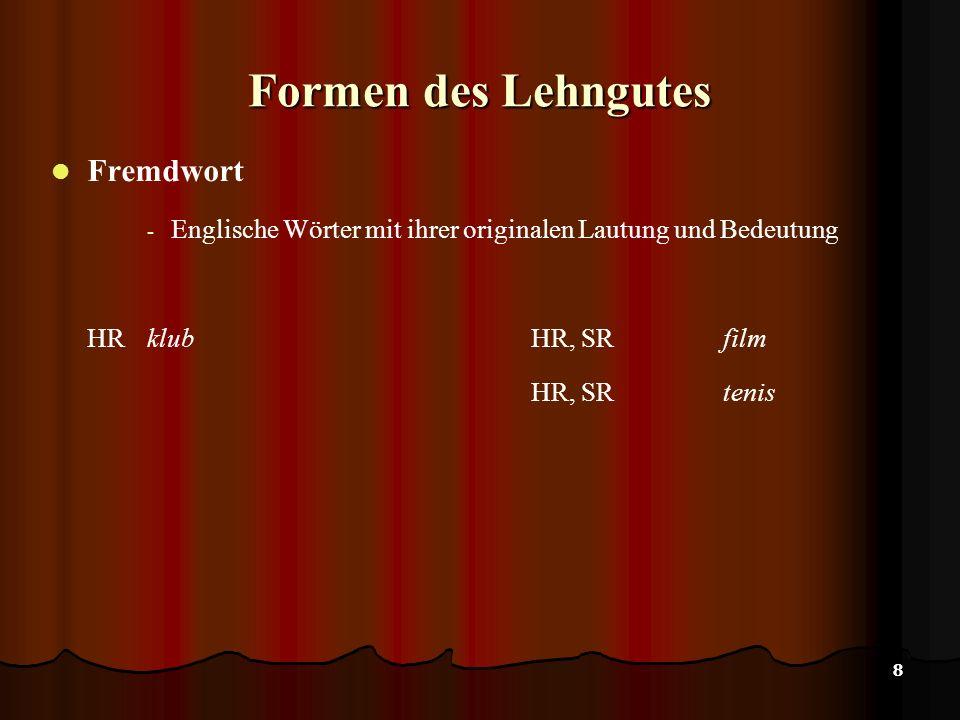 8 Formen des Lehngutes Fremdwort - Englische Wörter mit ihrer originalen Lautung und Bedeutung HR klubHR, SR film HR, SRtenis