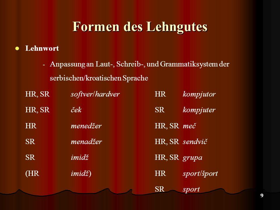 9 Formen des Lehngutes Lehnwort - Anpassung an Laut-, Schreib-, und Grammatiksystem der serbischen/kroatischen Sprache HR, SRsoftver/hardverHRkompjutor HR, SR ček SR kompjuter HRmenedžerHR, SR meč SRmenadžerHR, SR sendvič SRimidž HR, SR grupa (HRimidž) HR sport/šport SR sport