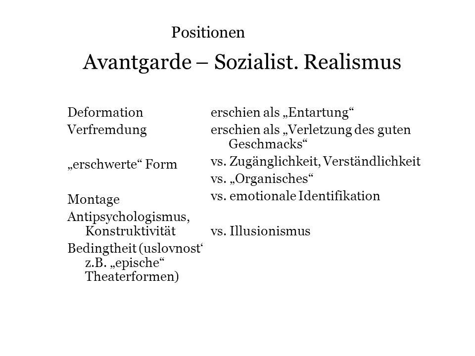 Avantgarde – Sozialist. Realismus Deformation Verfremdung erschwerte Form Montage Antipsychologismus, Konstruktivität Bedingtheit (uslovnost z.B. epis