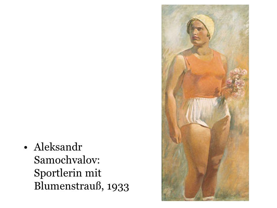 Aleksandr Samochvalov: Sportlerin mit Blumenstrauß, 1933