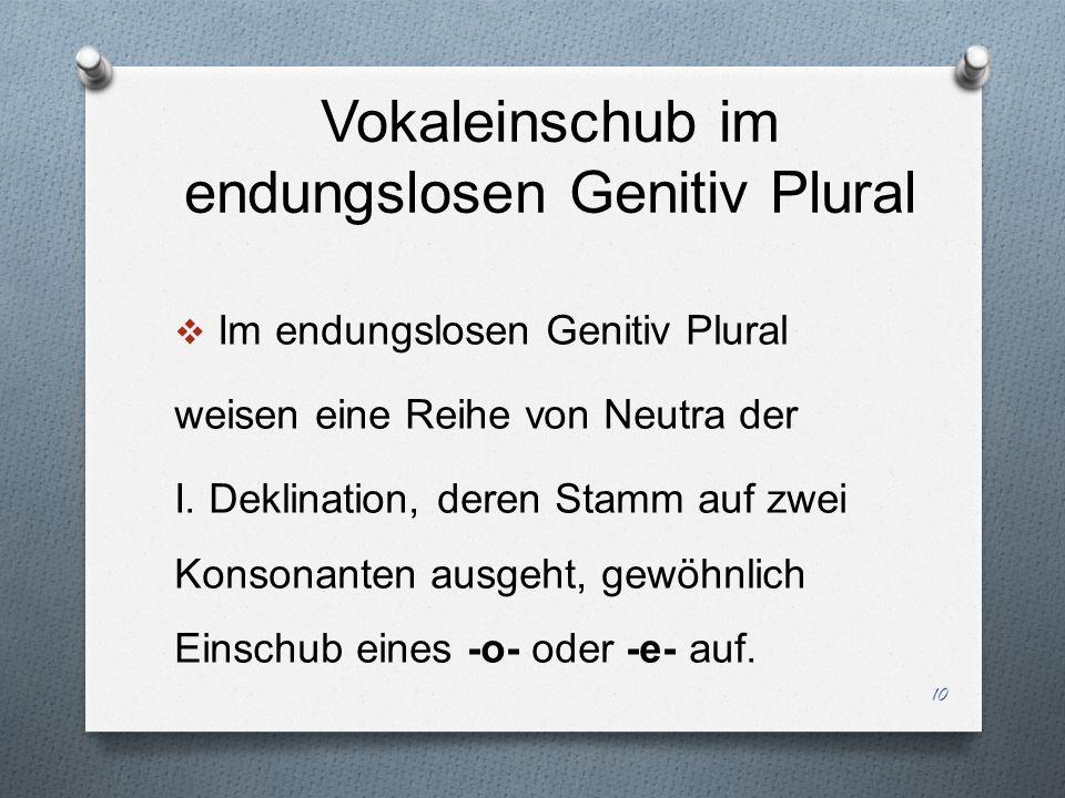 Vokaleinschub im endungslosen Genitiv Plural Im endungslosen Genitiv Plural weisen eine Reihe von Neutra der I. Deklination, deren Stamm auf zwei Kons