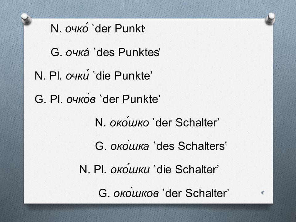 N. очко ̔ der Punkt ̛ G. oчкá ̔ des Punktes ̕ N. Pl. очки ̔ die Punkte G. Pl. очков ̔ der Punkte N. око́шко ̔ der Schalter G. око́шк a ̔ des Schalter