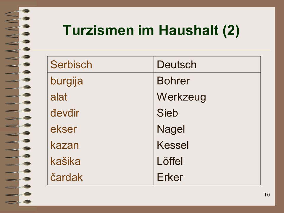 10 Turzismen im Haushalt (2) SerbischDeutsch burgijaBohrer alatWerkzeug đevđirSieb ekserNagel kazanKessel kašikaLöffel čardakErker