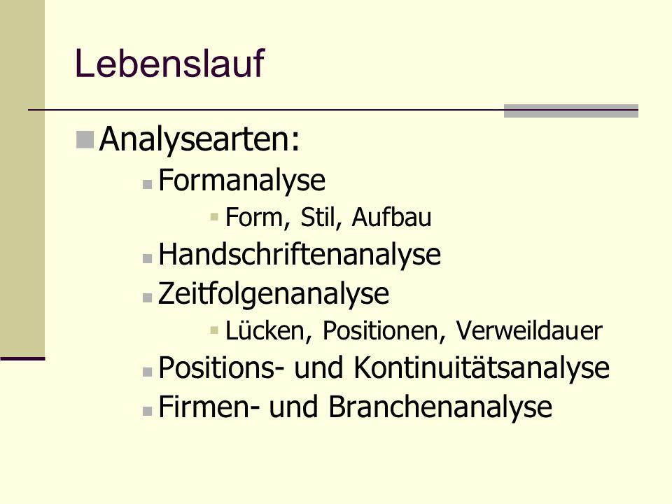 Lebenslauf Analysearten: Formanalyse Form, Stil, Aufbau Handschriftenanalyse Zeitfolgenanalyse Lücken, Positionen, Verweildauer Positions- und Kontinu