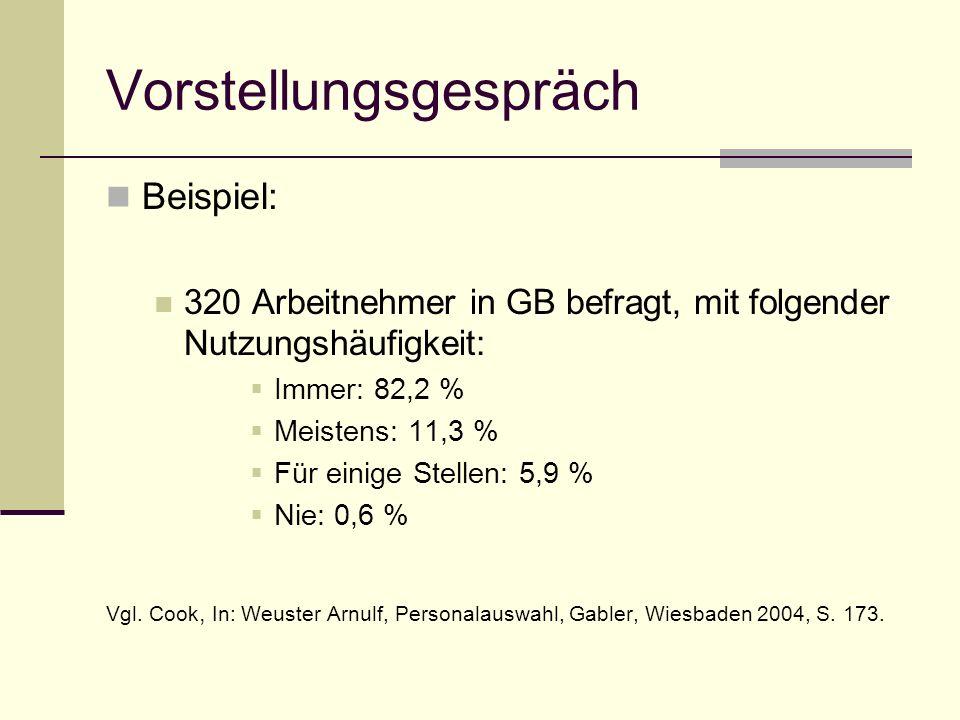 Beispiel: 320 Arbeitnehmer in GB befragt, mit folgender Nutzungshäufigkeit: Immer: 82,2 % Meistens: 11,3 % Für einige Stellen: 5,9 % Nie: 0,6 % Vgl. C