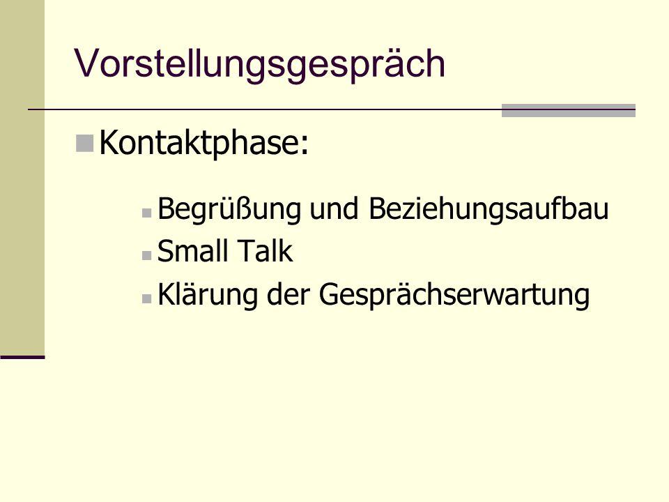 Vorstellungsgespräch Kontaktphase: Begrüßung und Beziehungsaufbau Small Talk Klärung der Gesprächserwartung