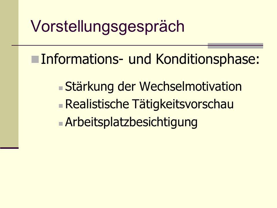 Vorstellungsgespräch Informations- und Konditionsphase: Stärkung der Wechselmotivation Realistische Tätigkeitsvorschau Arbeitsplatzbesichtigung