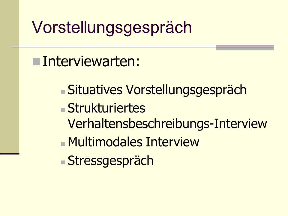 Vorstellungsgespräch Interviewarten: Situatives Vorstellungsgespräch Strukturiertes Verhaltensbeschreibungs-Interview Multimodales Interview Stressges