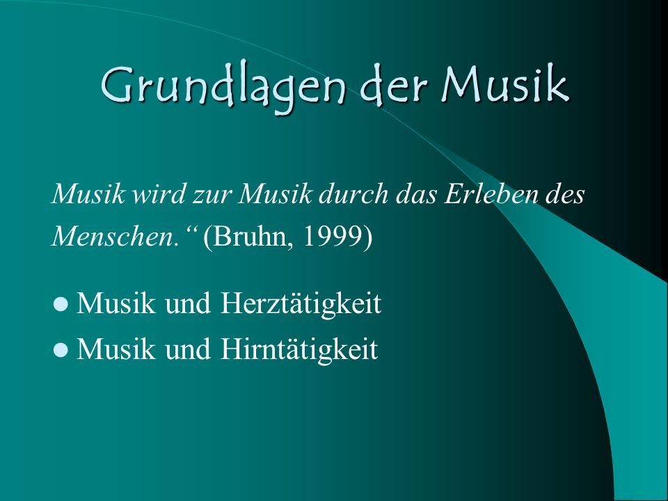 Grundlagen der Musik Musik wird zur Musik durch das Erleben des Menschen. (Bruhn, 1999) Musik und Herztätigkeit Musik und Hirntätigkeit
