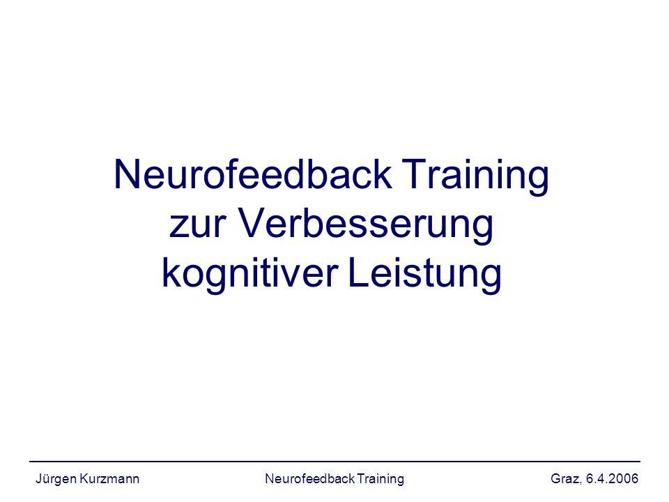 Graz, 6.4.2006Jürgen KurzmannNeurofeedback Training kognitive Leistung: beta Ergebnisse: –theta Erhöhung konnte nicht trainiert werden.