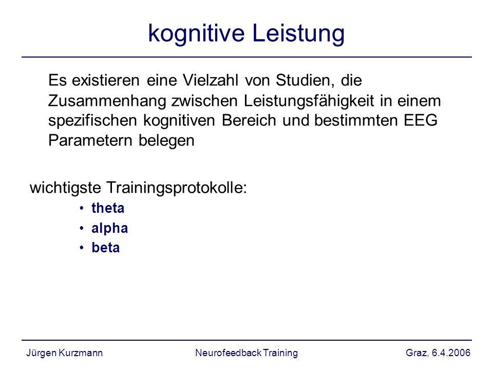 Graz, 6.4.2006Jürgen KurzmannNeurofeedback Training kognitive Leistung Es existieren eine Vielzahl von Studien, die Zusammenhang zwischen Leistungsfäh