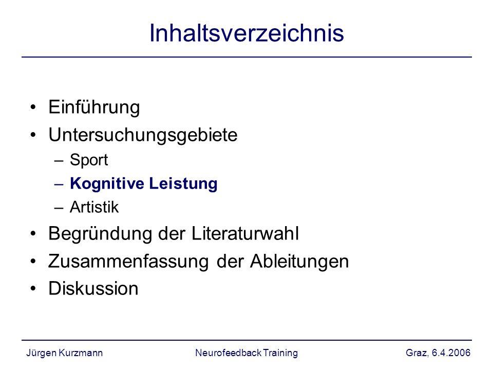 Graz, 6.4.2006Jürgen KurzmannNeurofeedback Training Inhaltsverzeichnis Einführung Untersuchungsgebiete –Sport –Kognitive Leistung –Artistik Begründung
