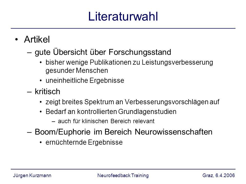 Graz, 6.4.2006Jürgen KurzmannNeurofeedback Training Literaturwahl Artikel –gute Übersicht über Forschungsstand bisher wenige Publikationen zu Leistung