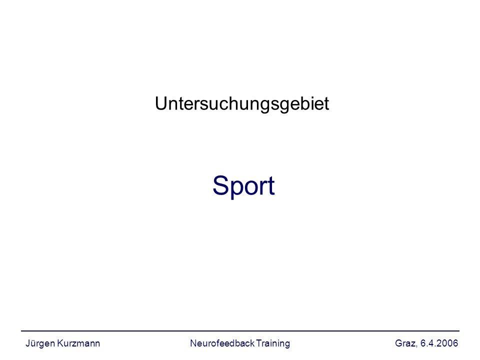 Graz, 6.4.2006Jürgen KurzmannNeurofeedback Training Ableitungen für Dissertation Kausalität –Störvariablen –bisher keine Änderungen in Referenz EEG nachweisbar: Dauer/Häufigkeit des NFT verantwortlich.
