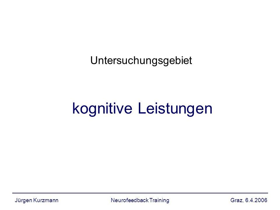 Graz, 6.4.2006Jürgen KurzmannNeurofeedback Training kognitive Leistung Es existieren eine Vielzahl von Studien, die Zusammenhang zwischen Leistungsfähigkeit in einem spezifischen kognitiven Bereich und bestimmten EEG Parametern belegen wichtigste Trainingsprotokolle: theta alpha beta