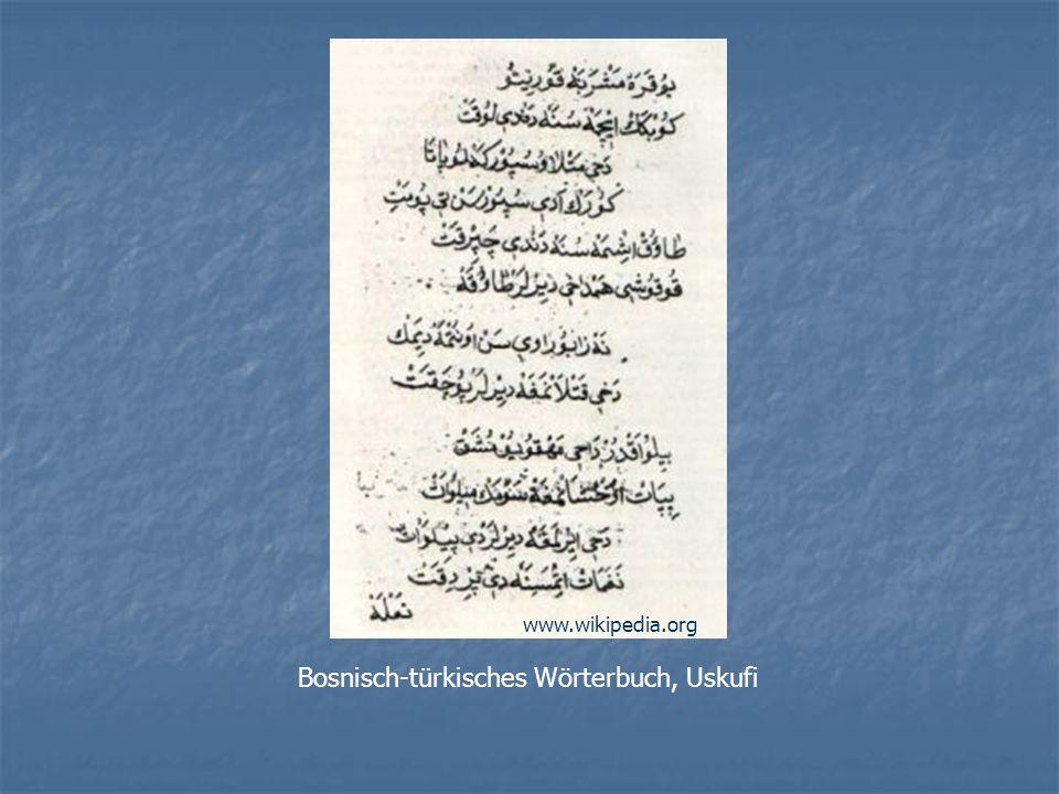 Gründe: Die bosniakische Elite und viele Schriftsteller bevorzugten Arabisch, Türkisch oder Persisch als Literatursprache Die bosniakische nationale Identität wurde im Vergleich zur kroatischen oder serbischen relativ spät entwickelt, und versuchte dann auch nicht, sich über die Sprache zu differenzieren.