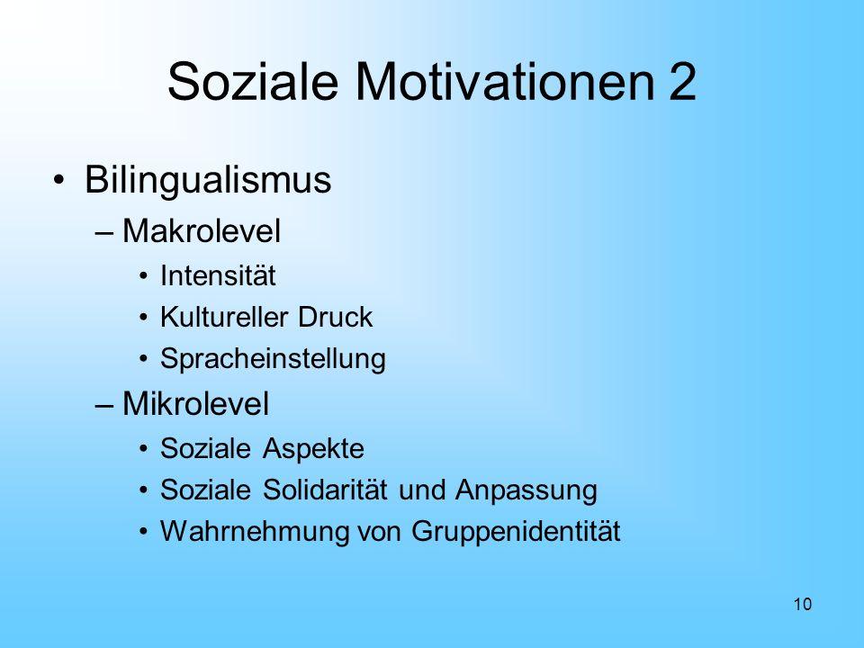 10 Soziale Motivationen 2 Bilingualismus –Makrolevel Intensität Kultureller Druck Spracheinstellung –Mikrolevel Soziale Aspekte Soziale Solidarität un