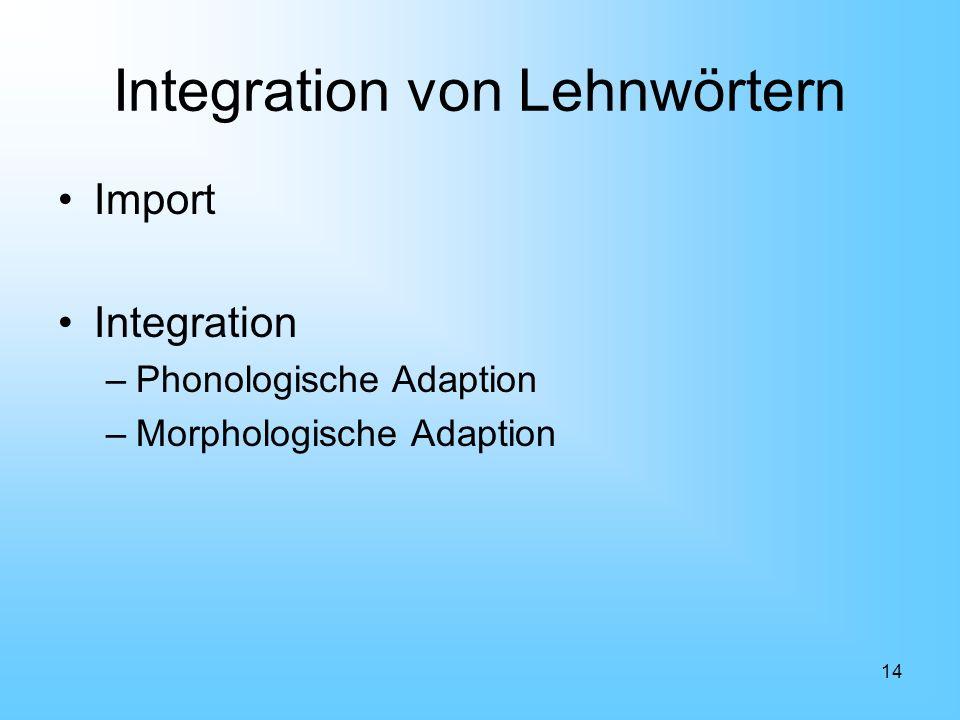 14 Integration von Lehnwörtern Import Integration –Phonologische Adaption –Morphologische Adaption