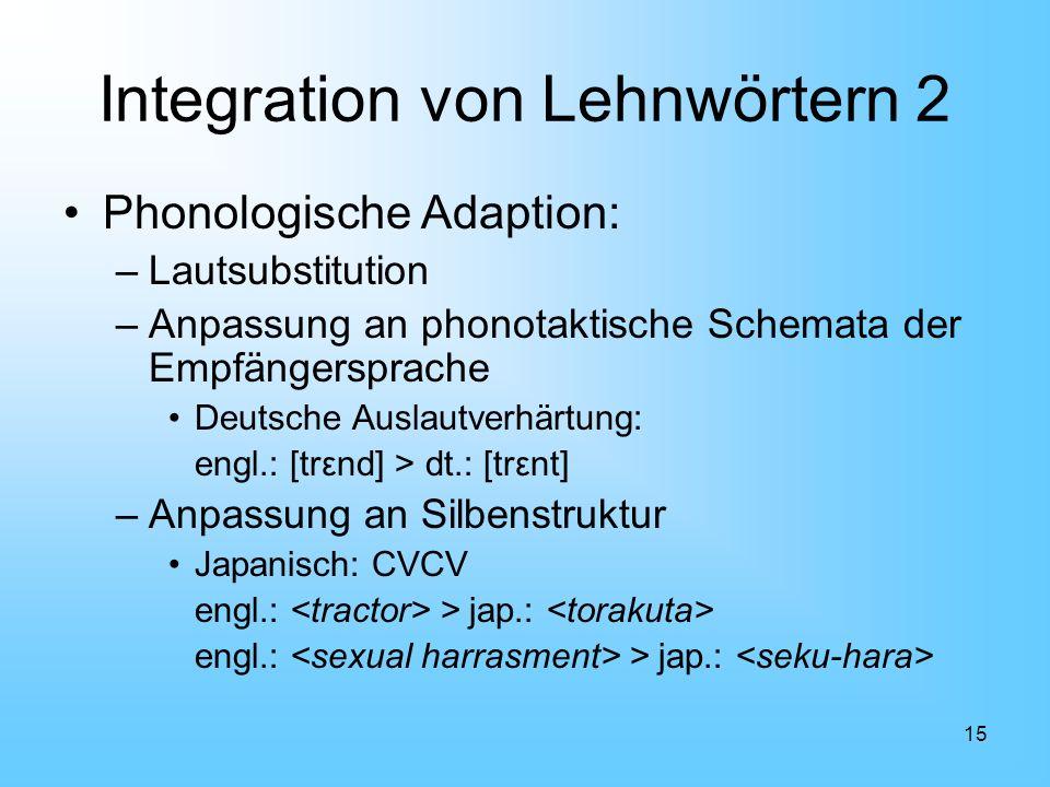 15 Integration von Lehnwörtern 2 Phonologische Adaption: –Lautsubstitution –Anpassung an phonotaktische Schemata der Empfängersprache Deutsche Auslaut