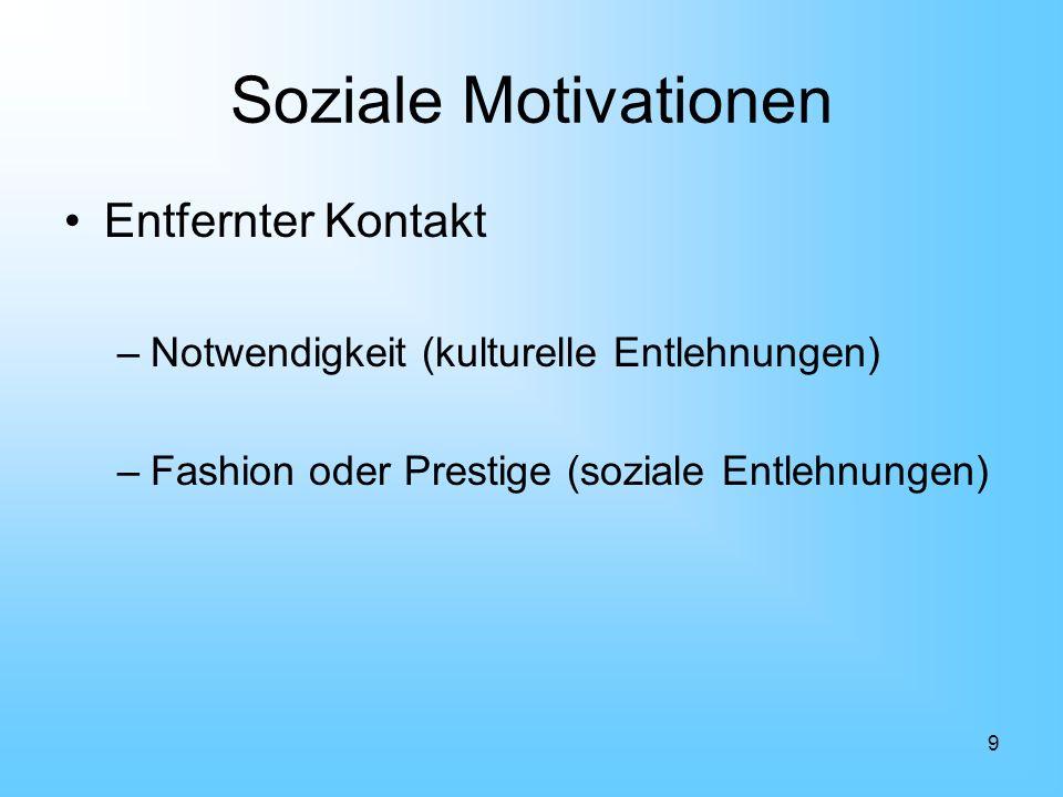 9 Soziale Motivationen Entfernter Kontakt –Notwendigkeit (kulturelle Entlehnungen) –Fashion oder Prestige (soziale Entlehnungen)