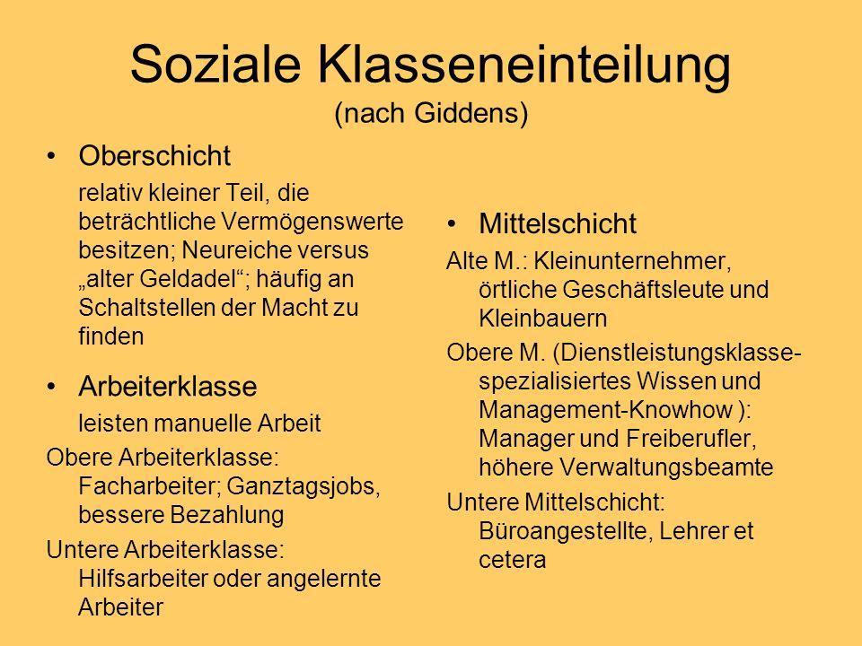 Soziale Klasseneinteilung (nach Giddens) Oberschicht relativ kleiner Teil, die beträchtliche Vermögenswerte besitzen; Neureiche versus alter Geldadel;