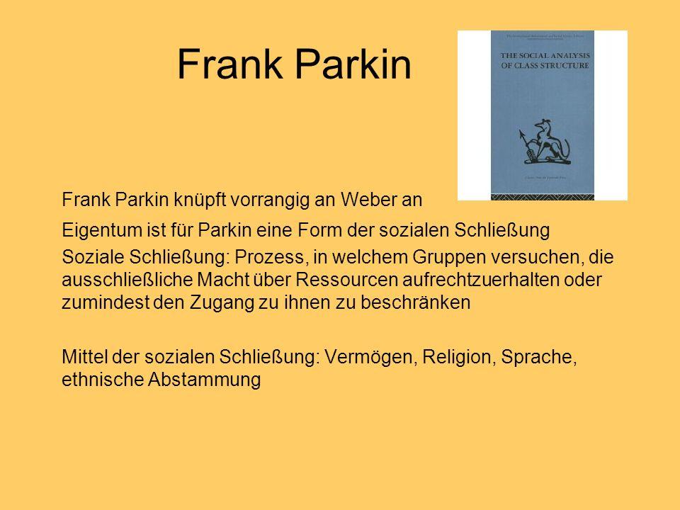 Frank Parkin Frank Parkin knüpft vorrangig an Weber an Eigentum ist für Parkin eine Form der sozialen Schließung Soziale Schließung: Prozess, in welch