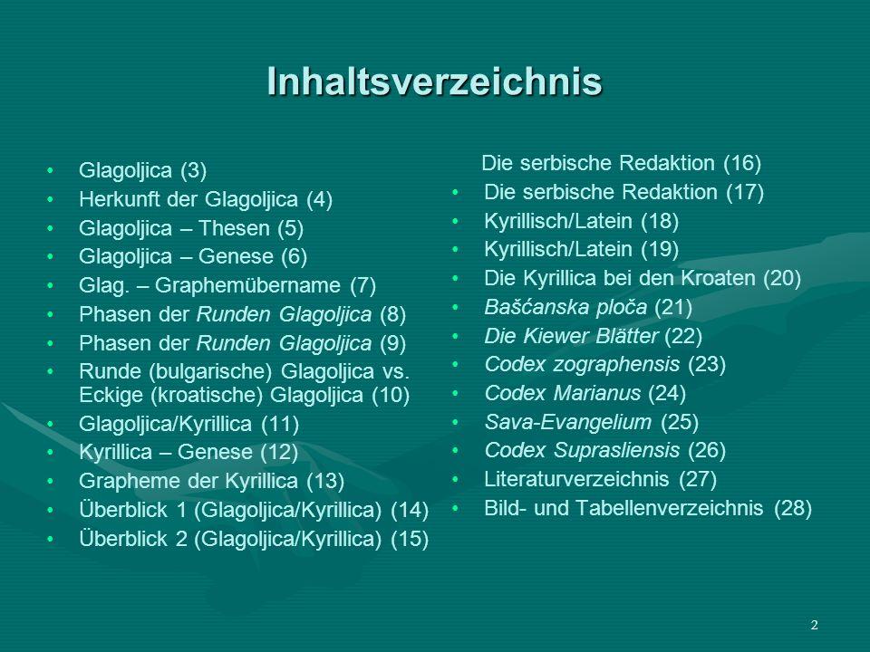 2 Inhaltsverzeichnis Glagoljica (3) Herkunft der Glagoljica (4) Glagoljica – Thesen (5) Glagoljica – Genese (6) Glag. – Graphemübername (7) Phasen der