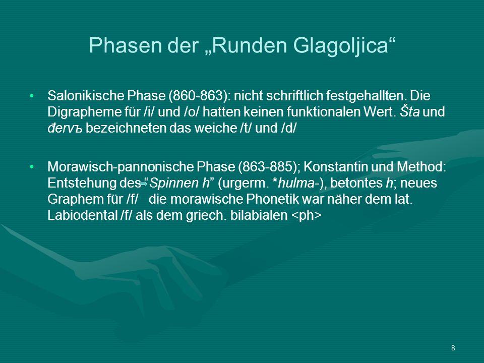 9 Phasen der Runden Glagoljica Tschechische Phase (885-1097): schwer rekonstruierbar, nach 885 fluchtet ein Teil der Schüler Methods nach Tschechien, wo man bis 1097 die Glagoljica benutzt, nicht nur in der Liturgie, sondern auch in den ersten tschechischen Schriften.