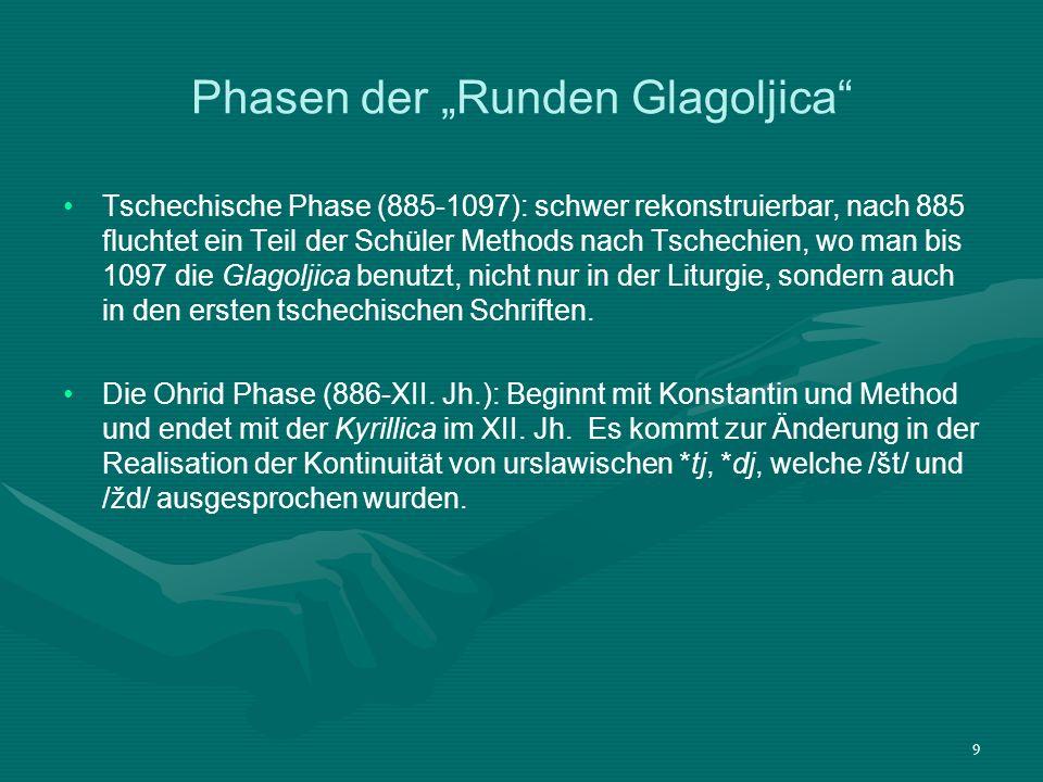 9 Phasen der Runden Glagoljica Tschechische Phase (885-1097): schwer rekonstruierbar, nach 885 fluchtet ein Teil der Schüler Methods nach Tschechien,