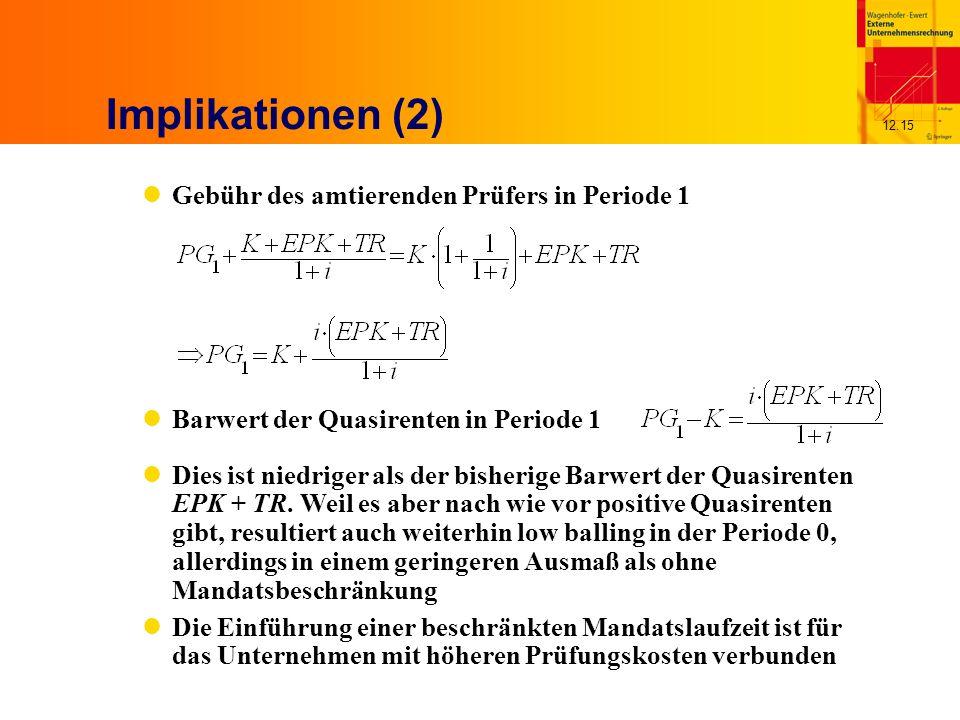 12.15 Implikationen (2) Gebühr des amtierenden Prüfers in Periode 1 Barwert der Quasirenten in Periode 1 Dies ist niedriger als der bisherige Barwert der Quasirenten EPK + TR.