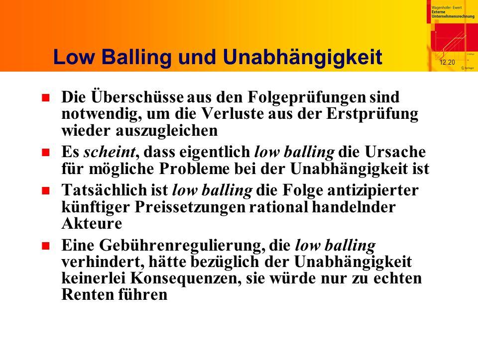 12.20 Low Balling und Unabhängigkeit n Die Überschüsse aus den Folgeprüfungen sind notwendig, um die Verluste aus der Erstprüfung wieder auszugleichen n Es scheint, dass eigentlich low balling die Ursache für mögliche Probleme bei der Unabhängigkeit ist n Tatsächlich ist low balling die Folge antizipierter künftiger Preissetzungen rational handelnder Akteure n Eine Gebührenregulierung, die low balling verhindert, hätte bezüglich der Unabhängigkeit keinerlei Konsequenzen, sie würde nur zu echten Renten führen