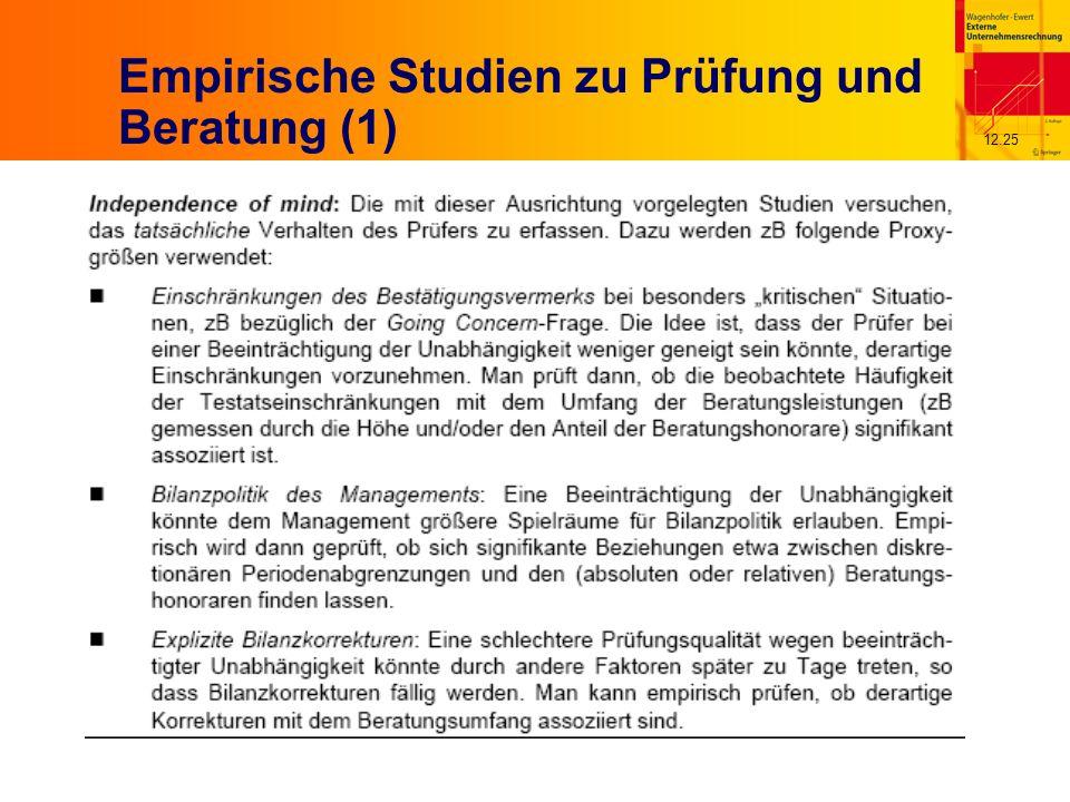 12.25 Empirische Studien zu Prüfung und Beratung (1)