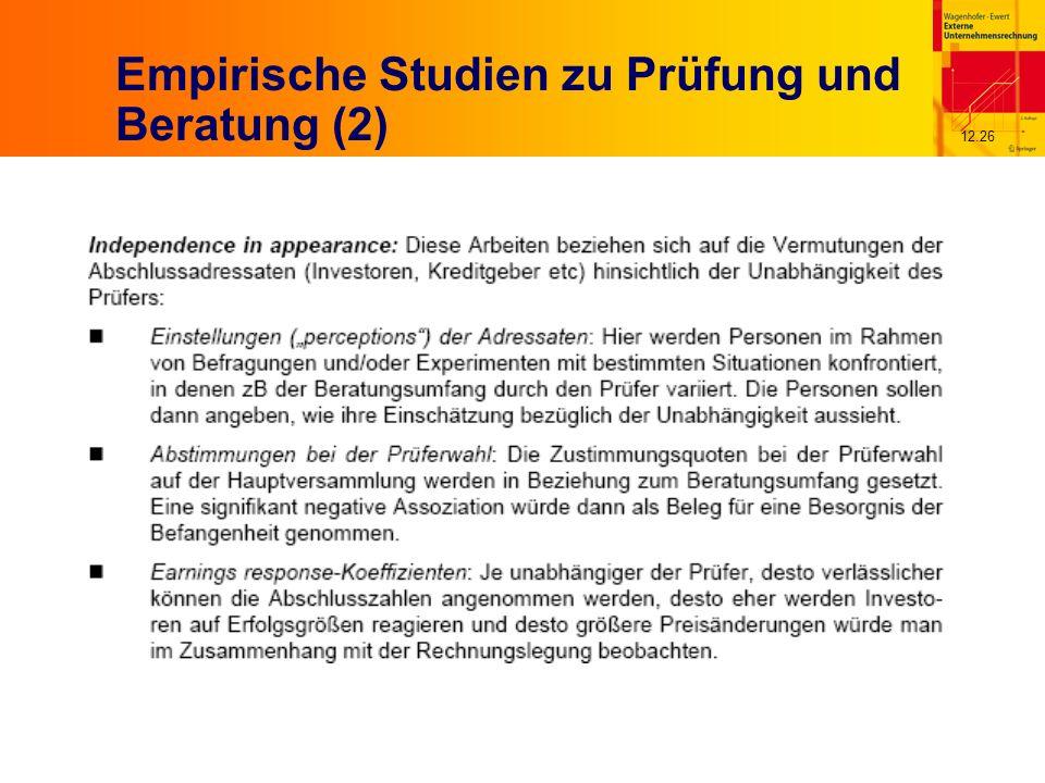 12.26 Empirische Studien zu Prüfung und Beratung (2)