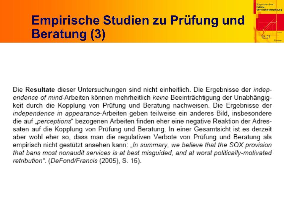 12.27 Empirische Studien zu Prüfung und Beratung (3)