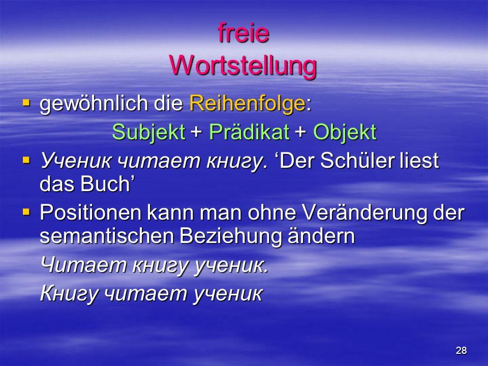 28 freie Wortstellung gewöhnlich die Reihenfolge: gewöhnlich die Reihenfolge: Subjekt + Prädikat + Objekt Ученик читает книгу.