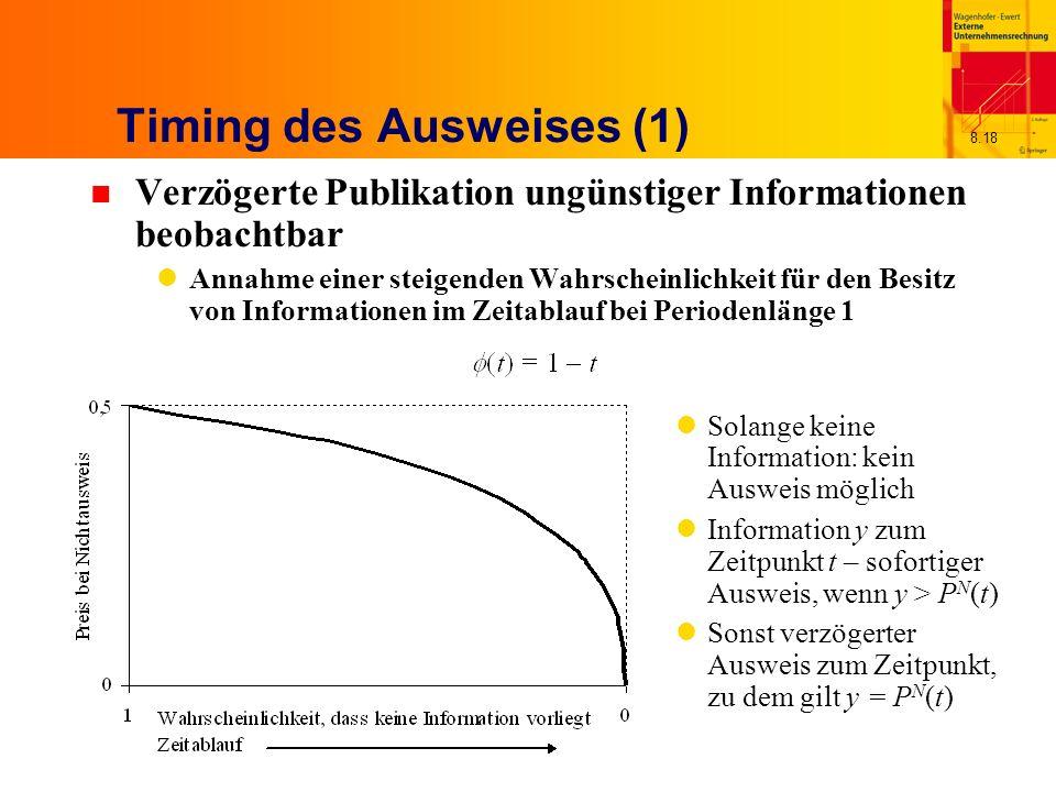 8.18 Timing des Ausweises (1) n Verzögerte Publikation ungünstiger Informationen beobachtbar Annahme einer steigenden Wahrscheinlichkeit für den Besitz von Informationen im Zeitablauf bei Periodenlänge 1 Solange keine Information: kein Ausweis möglich Information y zum Zeitpunkt t – sofortiger Ausweis, wenn y > P N (t) Sonst verzögerter Ausweis zum Zeitpunkt, zu dem gilt y = P N (t)