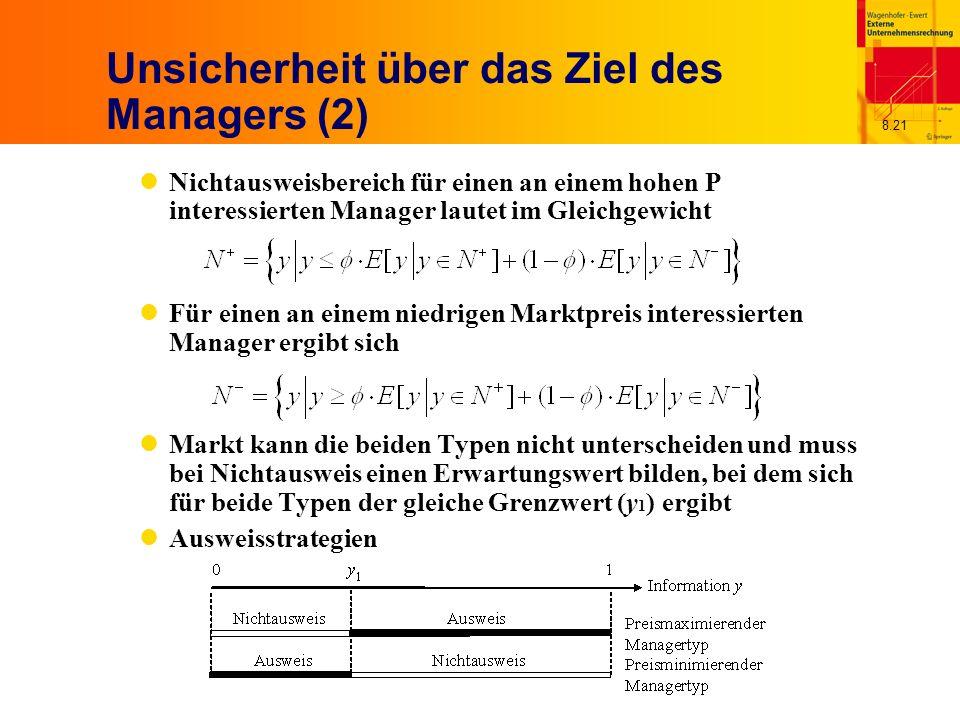 8.21 Unsicherheit über das Ziel des Managers (2) Nichtausweisbereich für einen an einem hohen P interessierten Manager lautet im Gleichgewicht Für einen an einem niedrigen Marktpreis interessierten Manager ergibt sich Markt kann die beiden Typen nicht unterscheiden und muss bei Nichtausweis einen Erwartungswert bilden, bei dem sich für beide Typen der gleiche Grenzwert (y 1 ) ergibt Ausweisstrategien
