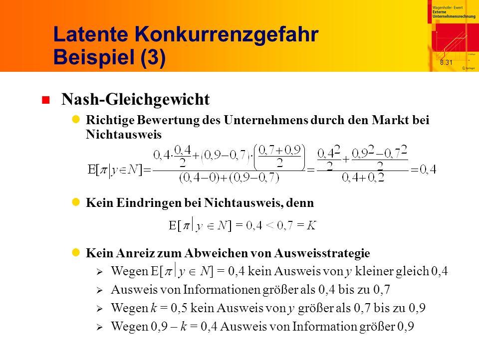 8.31 Latente Konkurrenzgefahr Beispiel (3) n Nash-Gleichgewicht Richtige Bewertung des Unternehmens durch den Markt bei Nichtausweis Kein Eindringen bei Nichtausweis, denn Kein Anreiz zum Abweichen von Ausweisstrategie Wegen E[ y N] = 0,4 kein Ausweis von y kleiner gleich 0,4 Ausweis von Informationen größer als 0,4 bis zu 0,7 Wegen k = 0,5 kein Ausweis von y größer als 0,7 bis zu 0,9 Wegen 0,9 – k = 0,4 Ausweis von Information größer 0,9